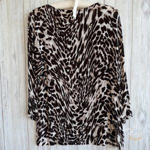 Chico's Travelers Leopard Top Tunic Shirt Size 12